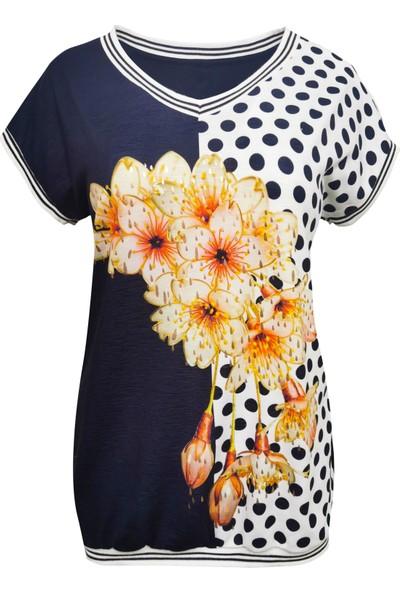 Perla Blanca Çiçek Desenli Puantiyeli Tişört
