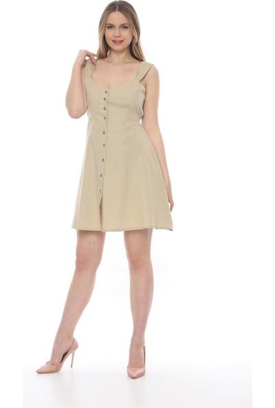 Manche Kadın Bej Geniş Askili Volan Elbise Mk19S283208