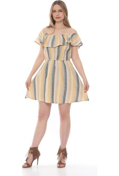 Manche Kadın Sarı Eteği Volanli Madonna Yaka Elbise Mk19S283207