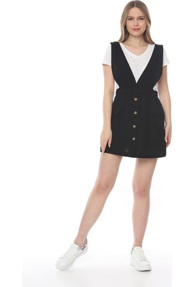 Manche Kadın Siyah Salopet Elbise MK19S283210