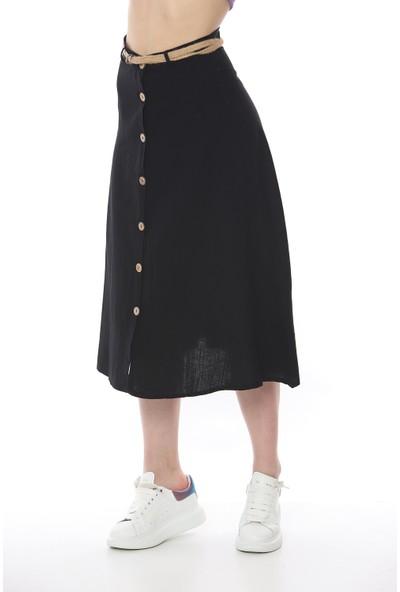 Manche Kadın Siyah Volanlu Etek Mk19S293201