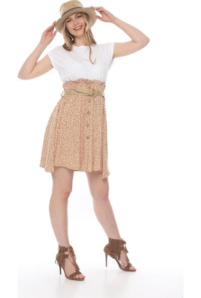 Manche Kadın Tarçın Yarasa Kol Eteği Desenli Elbise MK19S283247