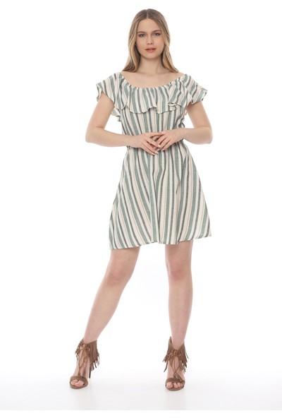 Manche Kadın Yeşil Eteği Volanli Madonna Yaka Elbise Mk19S283207