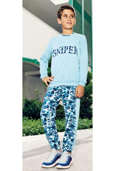 Pikidor 0002 Sniper Erkek Çocuk Pijama Takımı - Mavi