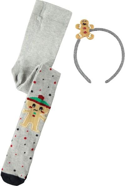 Katamino Kız Çocuk Taçlı Külotlu Çorap 1-9 Yaş Gri