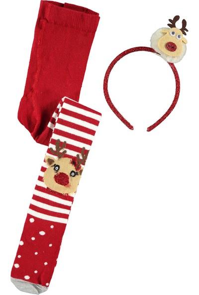 Katamino Kız Çocuk Taçlı Külotlu Çorap 1-9 Yaş Kırmızı