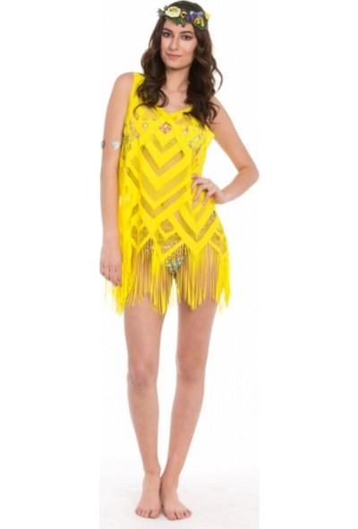 İngodi Sanriani Lintel Plaj Elbisesi (Sarı)