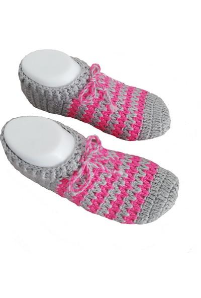 Nuh Home El Yapımı Kışlık Kadın Patik Gri Renk Çorap
