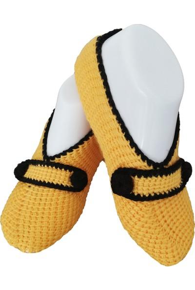 Nuh Home El Yapımı Kışlık Kadın Patik Sarı- Siyah Renk Çorap