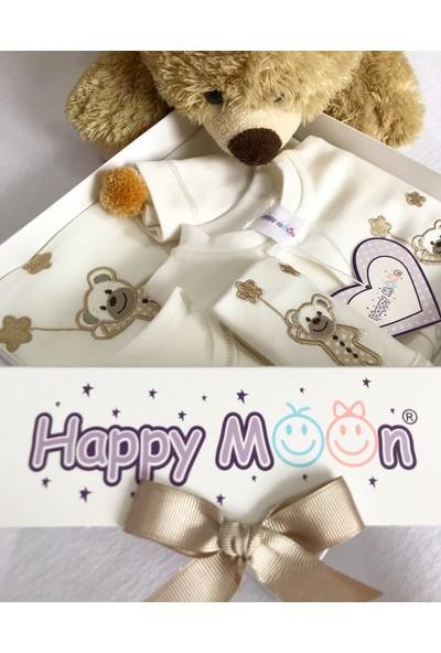 Happy Moon Hastane Çıkış Seti Bej Yıldızlı Balonlu Ayıcıklı Tulumlu