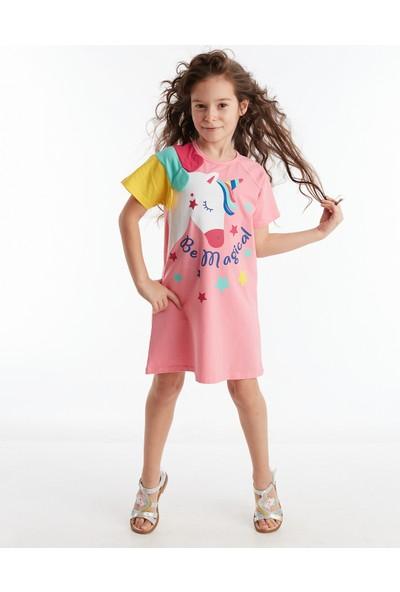 Denokids Unicorn Reglan Pembe Kız Çocuk Elbise
