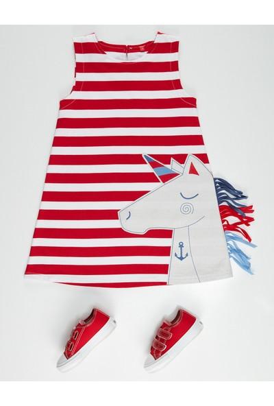 Denokids Kırmızı Beyaz Çizgili Unicorn Elbise