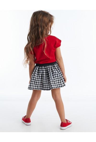 Mushi Zebra Ekoseli Kız Çocuk Elbise