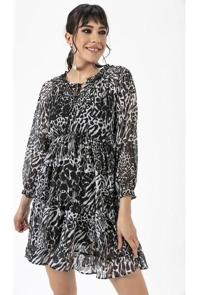 Liplipo Kadın Beli Lastikli Desenli Elbise