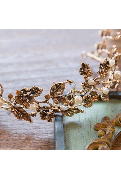 Atölye Pür Hayal Çiçek Desenli Inci Detaylı Vintage Gelin Tacı