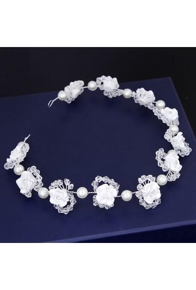 Atölye Pür Hayal Beyaz Çiçekli Boncuk Detaylı Gelin Tacı
