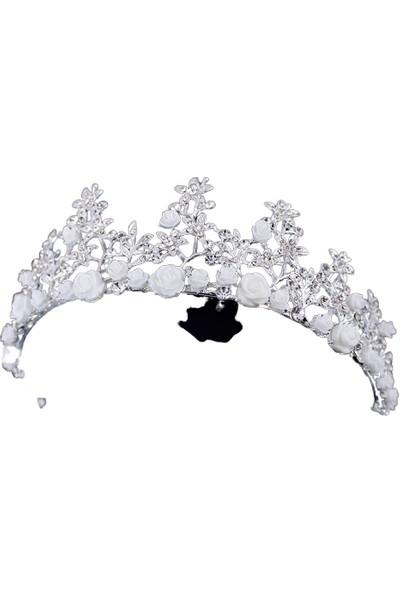 Atölye Pür Hayal Beyaz Çiçekli Gümüş Renkli Saç Aksesuarı