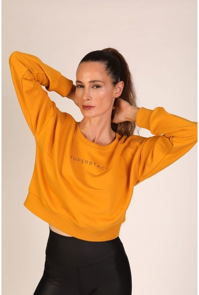 Superstacy Kısa Spor Hardal Sweatshirt