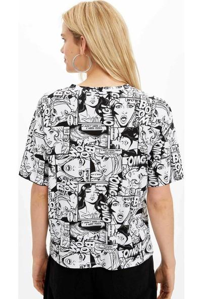 Defacto Kadın Baskılı Regular Fit T-Shirt