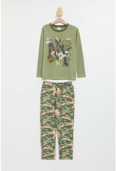 Defacto Erkek Çocuk Kamuflaj Baskılı Pijama Takımı