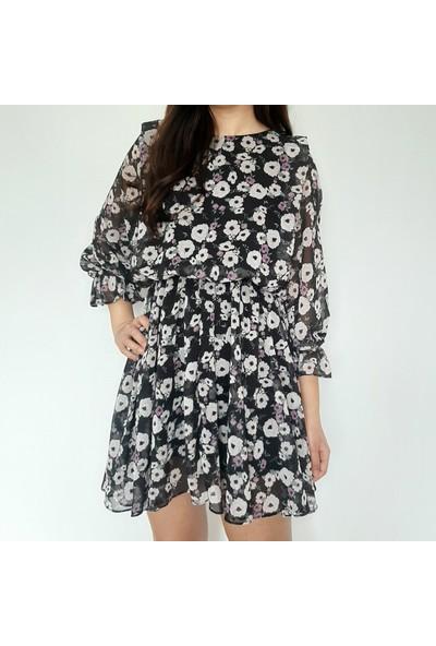 Hot Fashıon Çiçekkli Elbise S