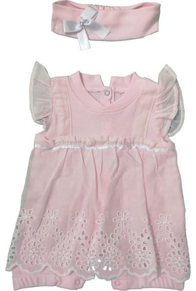 Elci Elbise Görünümlü Güpürlü Bandanalı Bebek Tulum