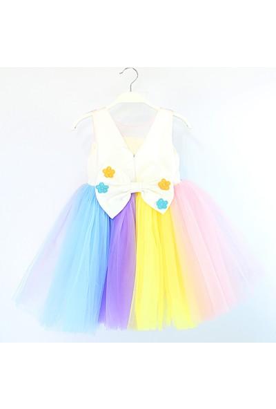 Barmy Renkli Tütü Etekli Kız Çocuk Abiye Elbise 5-8 Yaş Aralığı