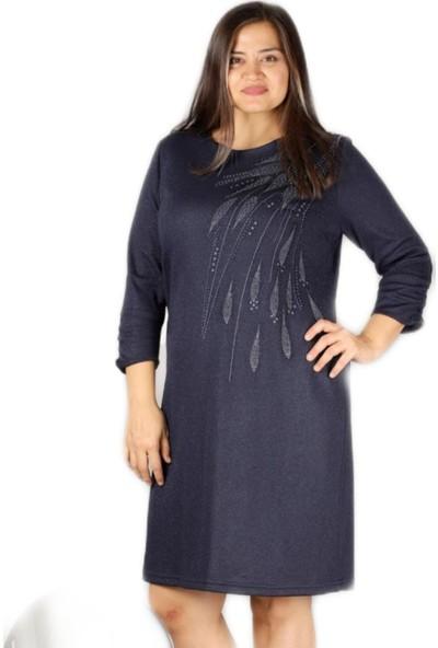 Begati_Store Kadın Lacivert Inci Detaylı Simli Elbise