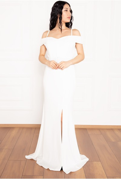 Kalopya Becca 13247 Dalgıç Krep Askılı Kemerli Uzun Elbise
