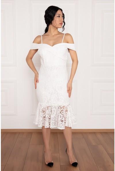 Kalopya Dees 13266 Askılı Eteği Volanlı Elbise