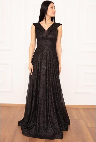 Kalopya Ruby 13280 Simli Tül Uzun Elbise