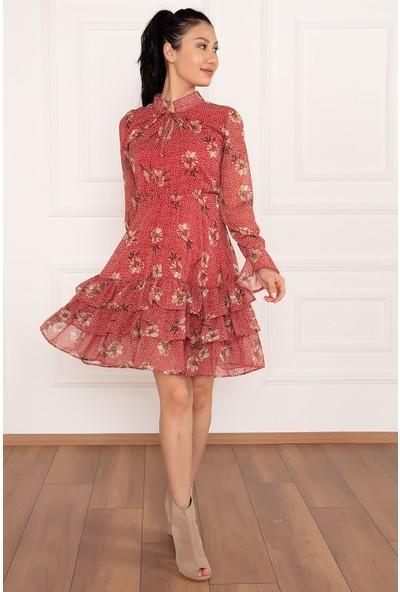 Kalopya Avril 2150 Çiçek Desen Eteği Fırfırlı Şifon Elbise