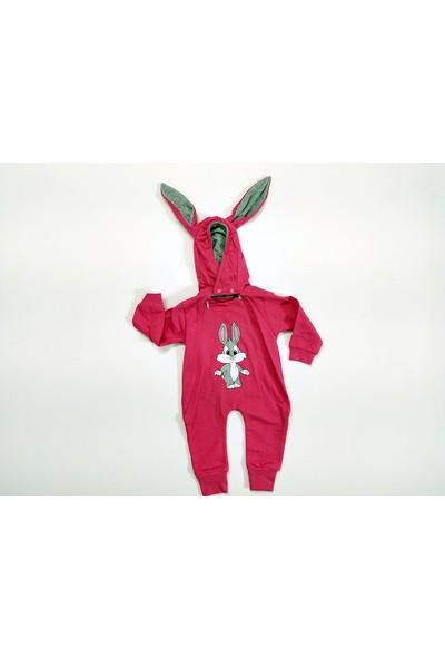 Murat Baby Tavşan Baskılı Şapkalı Tulum