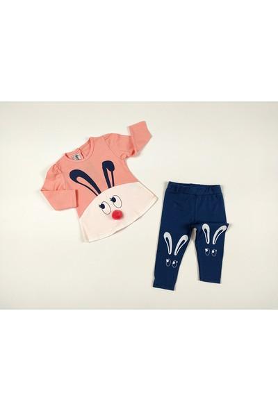 Deco Ponpon Burunlu Uzun Kulak Tavşan Kız Bebek Takımı