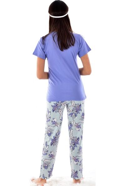 Pijamoni 2550-4 Desenli Kısa Kol Pijama Takımı İndigo