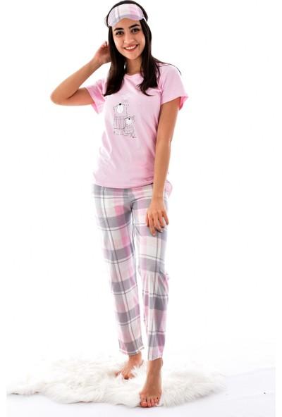 Pijamoni 2550-11 Desenli Kısa Kol Pijama Takımı Pembe