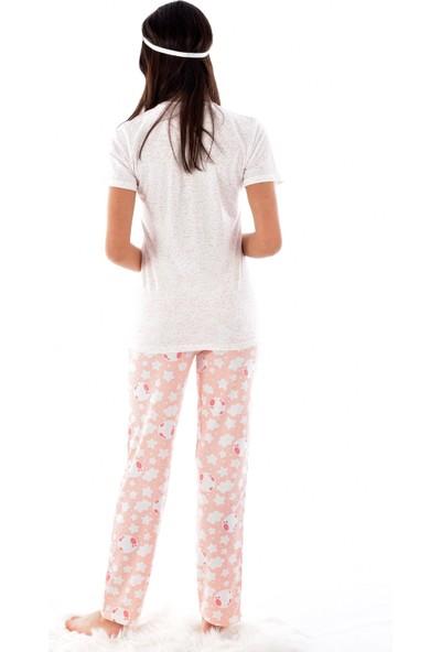 Pijamoni 2550-70 Desenli Kısa Kol Pijama Takımı Turuncu