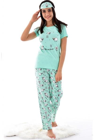 Pijamoni 2550-74 Desenli Kısa Kol Pijama Takımı Yeşil