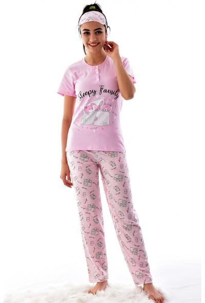 Pijamoni 2545-1 Desenli Kısa Kol Pijama Takımı Pembe