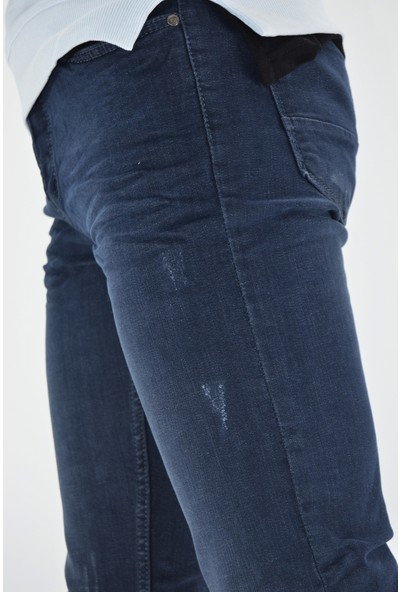 Danlıfit Dark Blue Yıpratmalı Krinkıllı Likralı Erkek Kot Pantolon