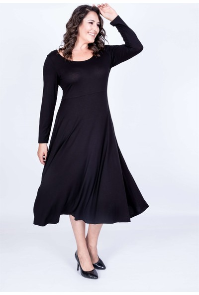 Myline Balerin Yaka Elbise Siyah M