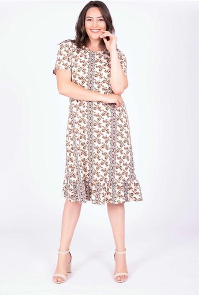 Myline Eteği Volanlı Elbise Çok Renkli 3XL