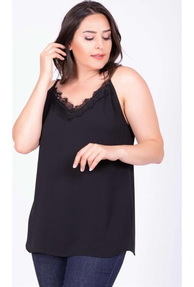 Myline Dantelli İp Askılı Bluz Siyah 40