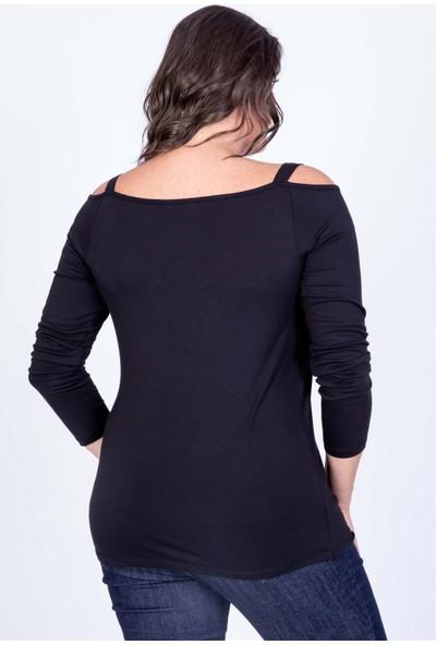 Myline Omuz Çerçeveli Anvelop Bluz Siyah M