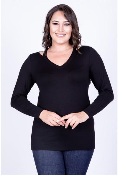 Myline Yaka Çerçeveli Bluz Siyah M