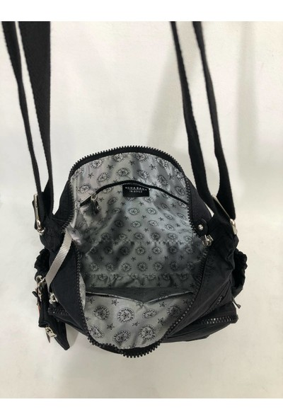 Elizabell Krinkıl Kumaş Kadın Postacı Çanta Ebat 24CM32 Renk Siyah