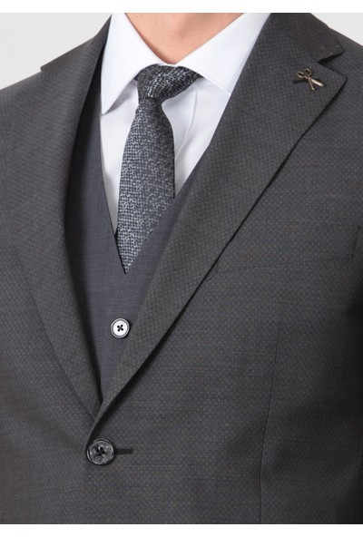 Ramsey Baskılı Dokuma Yelekli Takım Elbise