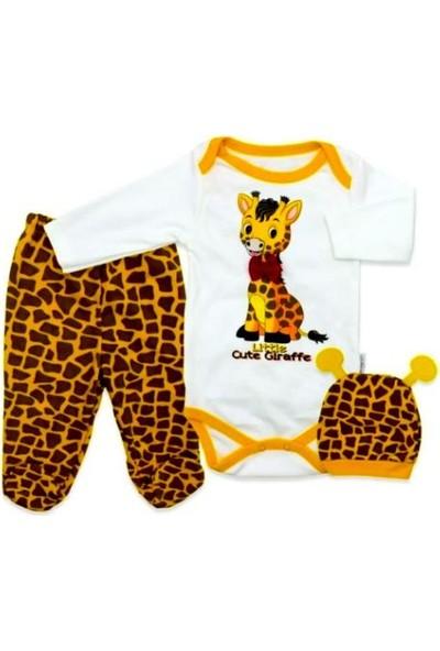 AlpCollection 3'lü Pamuklu Body Badi Set Zürafa Baskılı Bebek