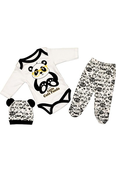 AlpCollection Panda Desenli 3'lü Bebek Pamuklu Body Badi Set