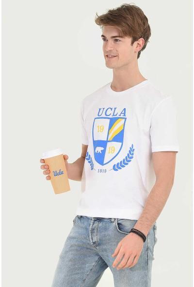 Ucla Beyaz Bisiklet Yaka Baskılı Erkek T-Shirt